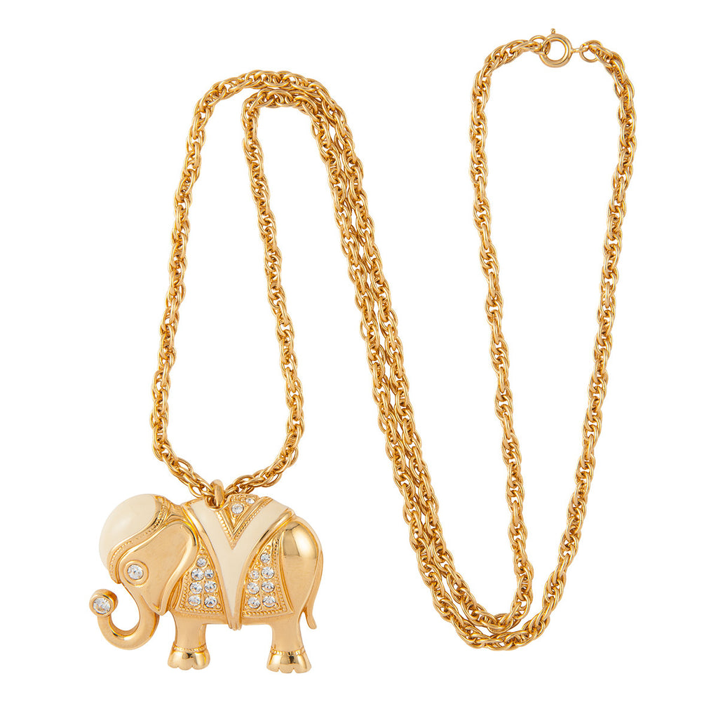 1990s Vintage Kenneth Jay Lane Elephant Interchangeable Pendant
