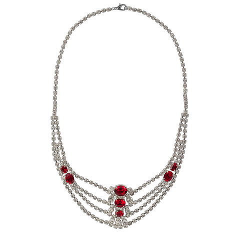 1970s Vintage Edwardian Red Crystal Necklace