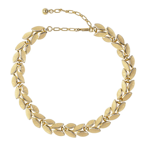 1960s Vintage Trifari Brushed Laurel Necklace