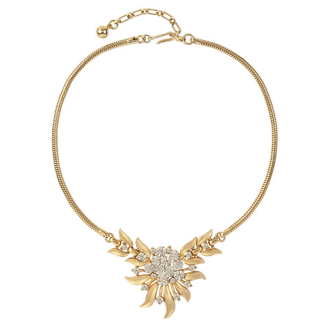 1950s Vintage Trifari Clear Crystal Floral Necklace