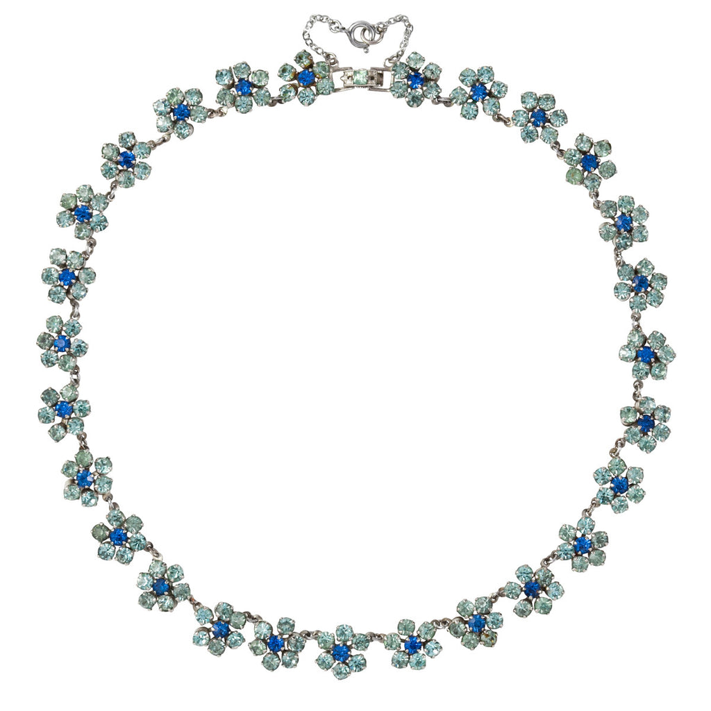 1950s Vintage Norman Hartnell Blue Flower Necklace