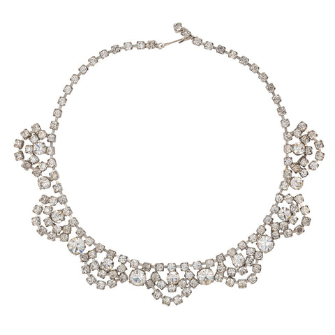 1950s Vintage Brilliant Crystal Swag Necklace