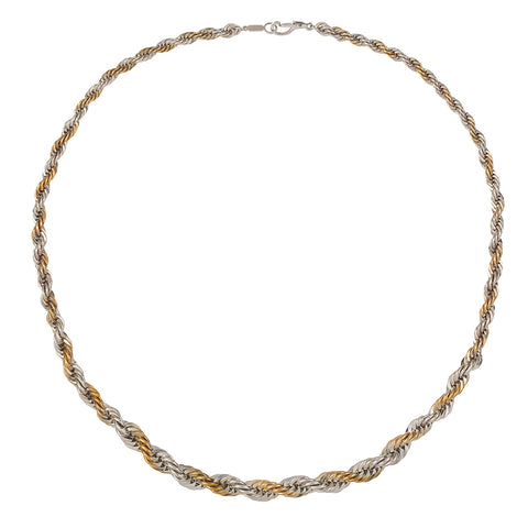 1980s Vintage Gold and Silver Twist Necklace