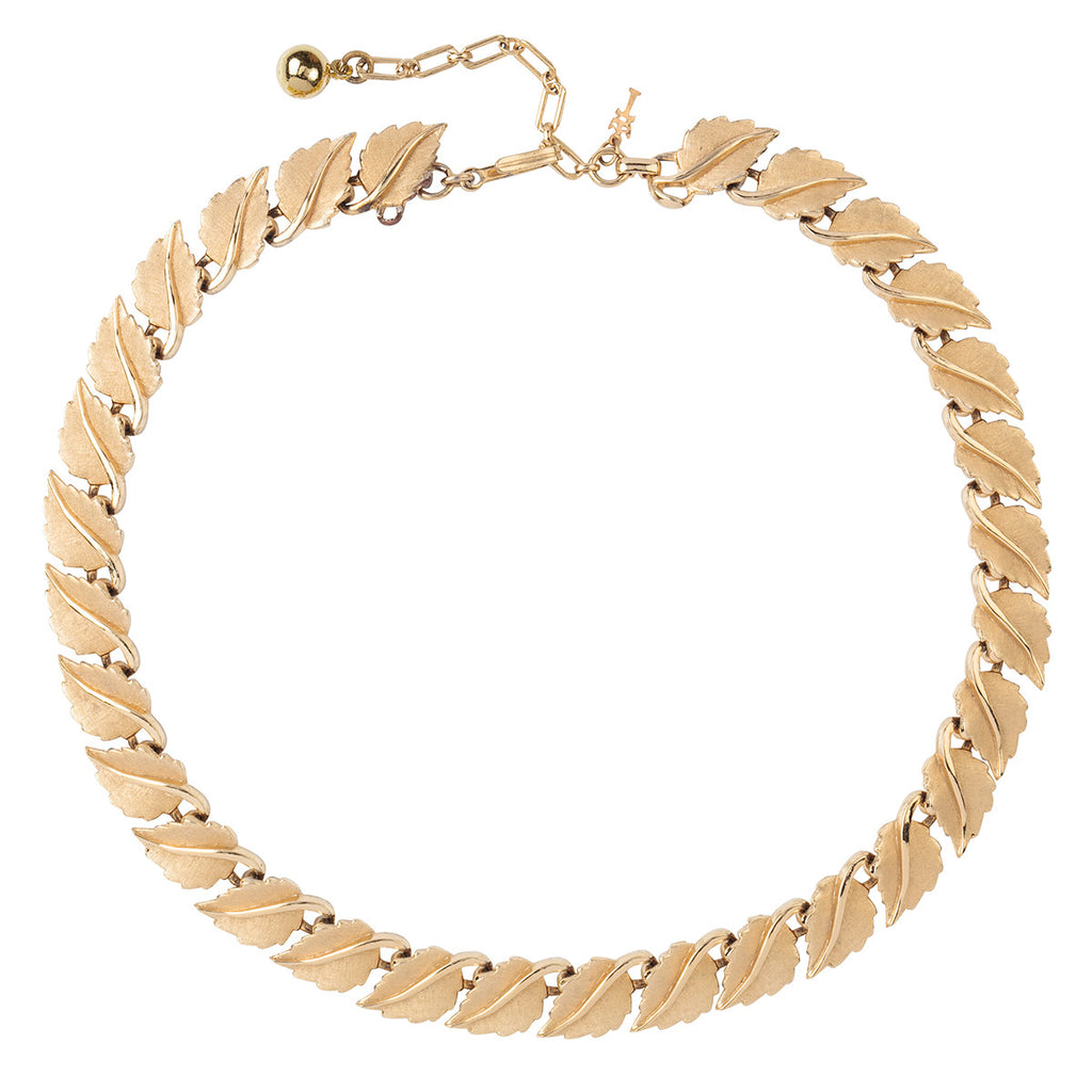 1960s Vintage Trifari Leaf Link Necklace