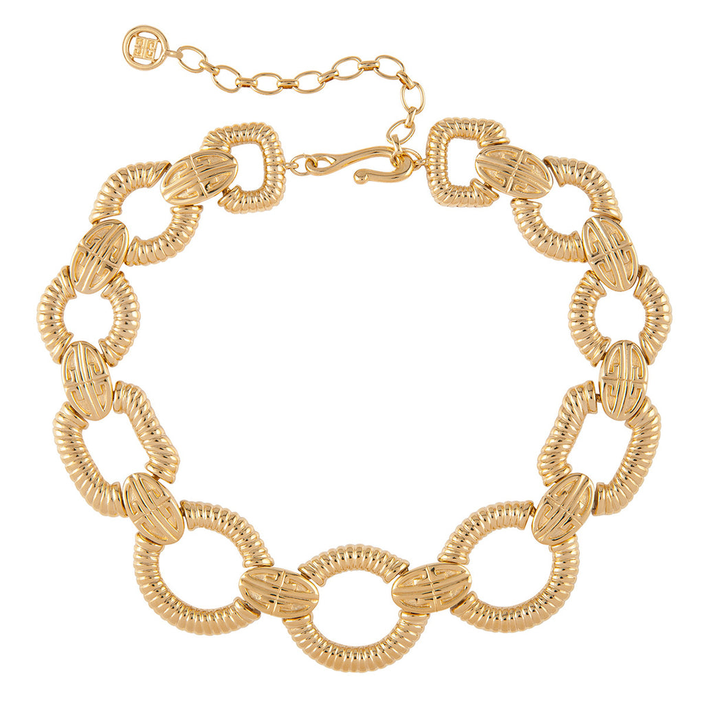 1980s Vintage Givenchy Ribbed Link Necklace