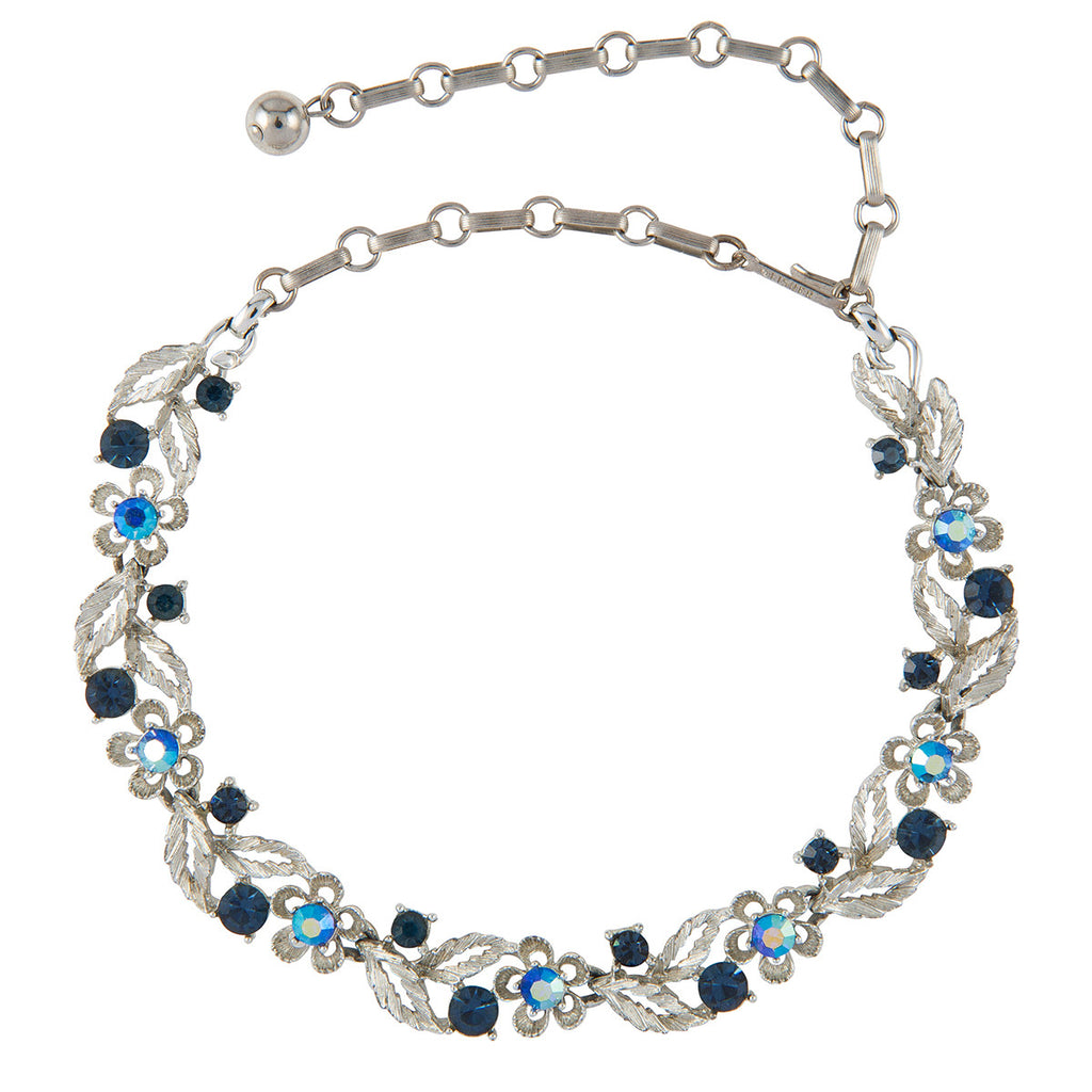 1950s Vintage Lisner Blue Crystal Necklace