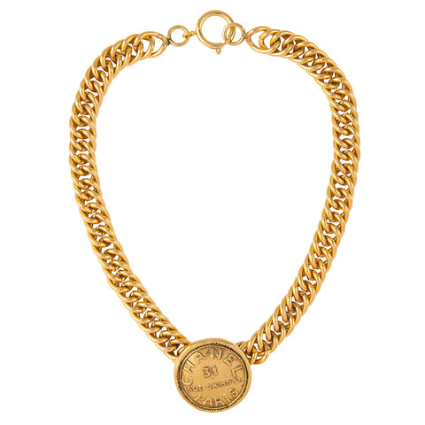 1980s Vintage Chanel Coin Pendant