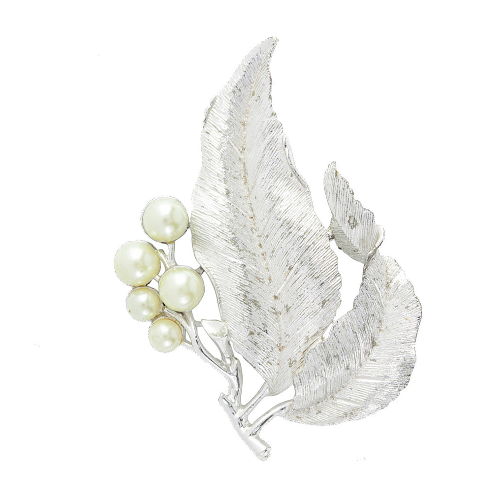 1960s Vintage Sarah Coventry Pearly Leaf Brooch