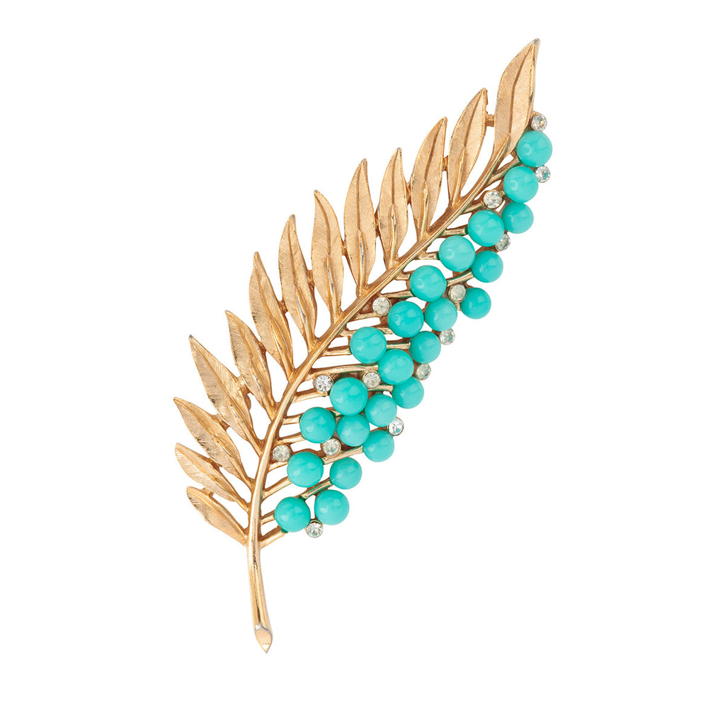 1950s Vintage Trifari Faux Turquoise Branch Brooch