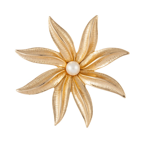 1970s Vintage Sarah Coventry Faux Pearl Flower Brooch