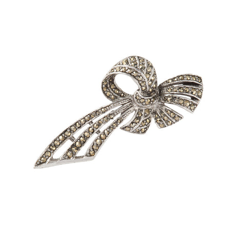 1940s Vintage Marcasite Bow Brooch