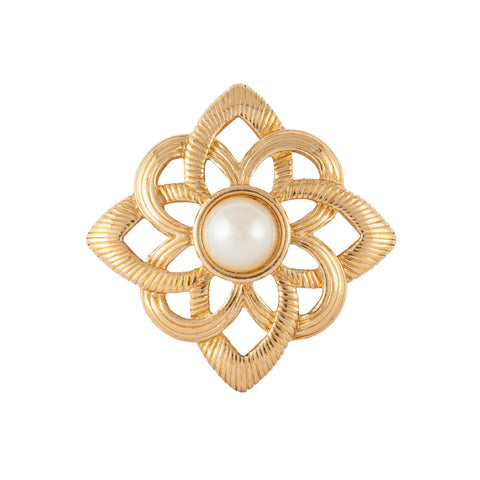 1970s Vintage Stylised Faux Pearl Brooch