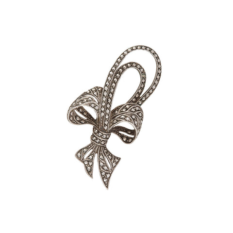 1950s Vintage Silver Bow Brooch