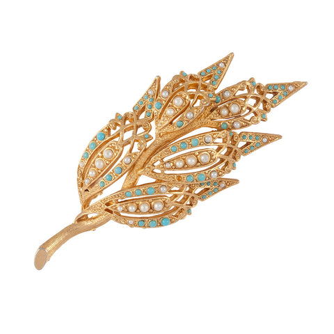 1950s Vintage Sphinx Faux Turquoise Brooch