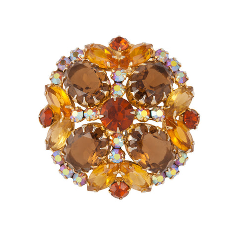 1960s Vintage Topaz Coloured Crystal Brooch