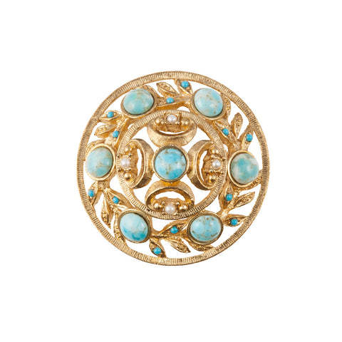 1970s Vintage Sphinx Faux Turquoise Brooch