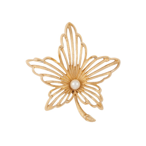 1960s Vintage Monet Leaf Brooch