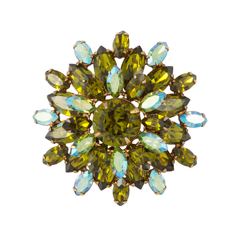 1950s Vintage Regency Green Crystal Brooch