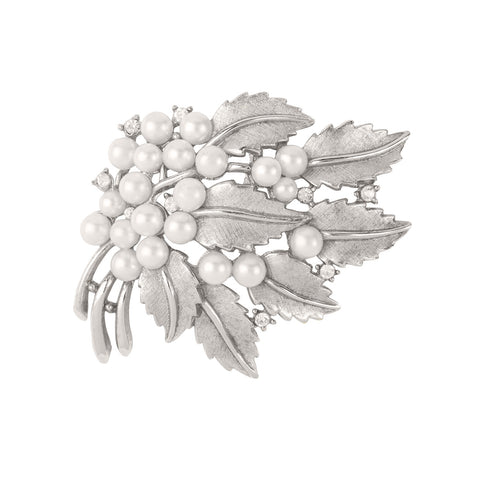 1960s Vintage Trifari Faux Pearl Bough Brooch