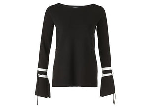 YAYA BOATNECK SWEATER W.CONTRAST COLOR STRIPES AT SLVS