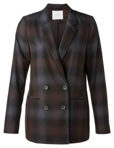 YAYA DOUBLE BREASTED CHECK BLAZER