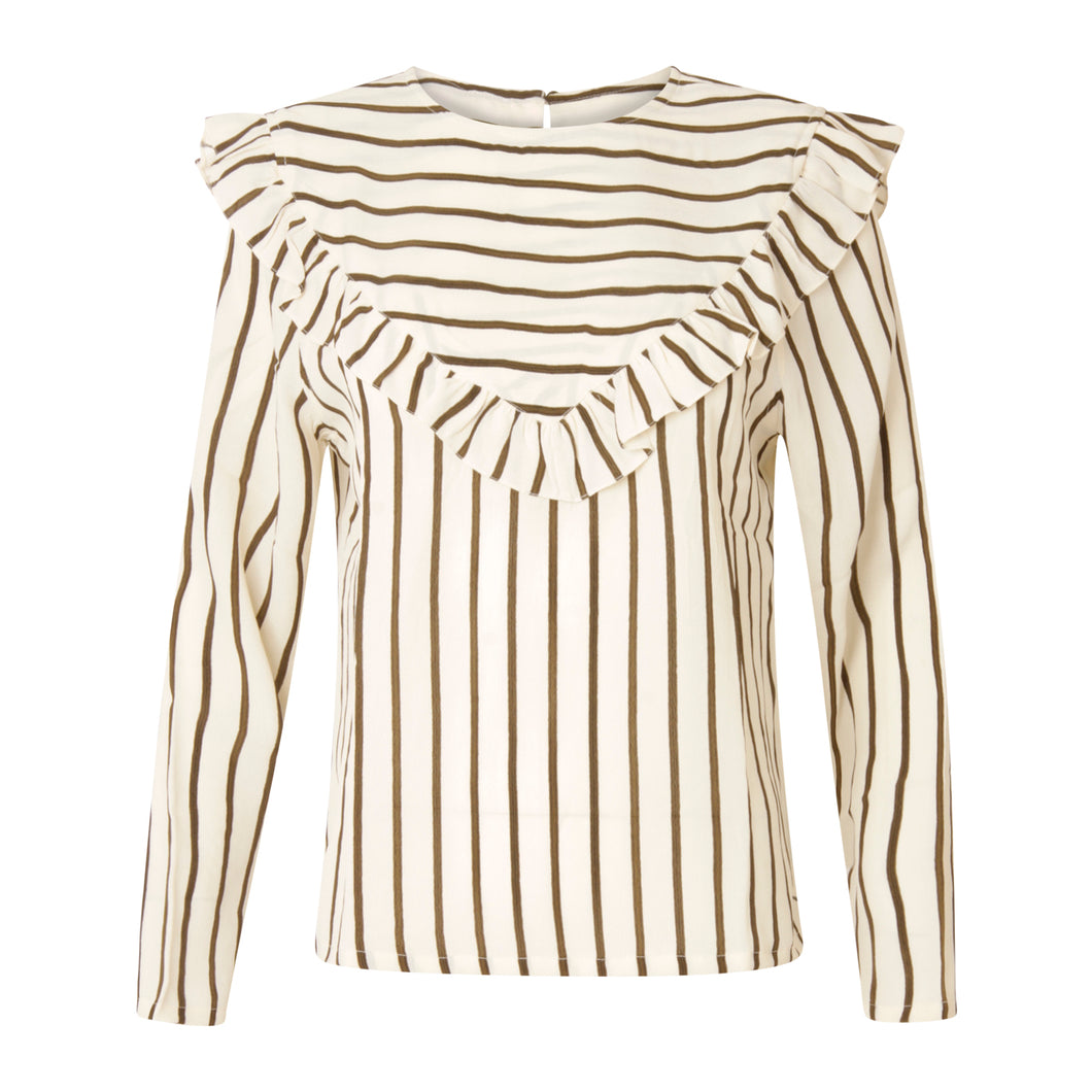COSTER  Stripe top w. ruffle