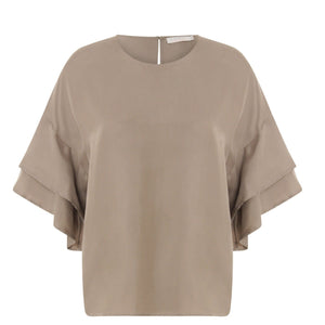 COSTER Cupro top w. volant sleeves