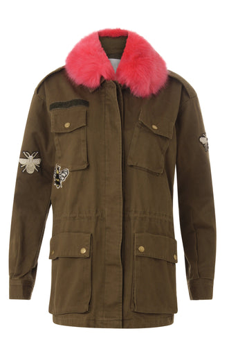 COSTER Canvas army jacket w. fur collar & appliques