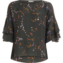 Load image into Gallery viewer, COSTER TOP IN FROSTED BLOOMS PRINT WITH VOLANT SLEEVES