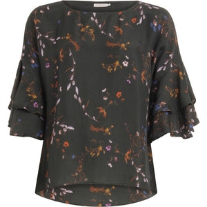 COSTER TOP IN FROSTED BLOOMS PRINT WITH VOLANT SLEEVES