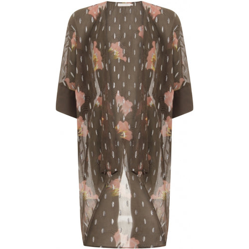 COSTER  Kimono in sky print w. lurex and tied closing