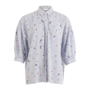 COSTER Shirt in Blue and White with 3/4 Sleeve