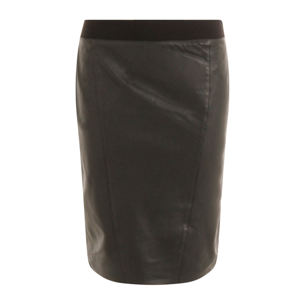 COSTER  Skirt in leather w. jersey back