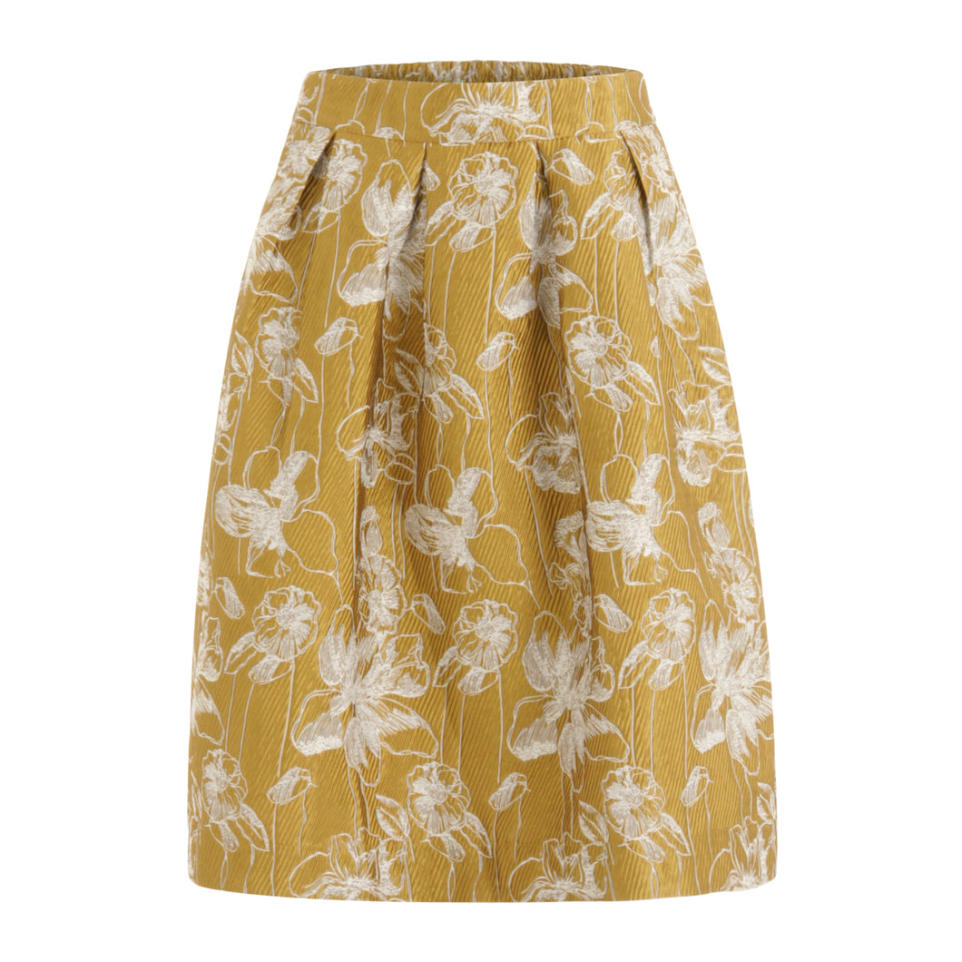 COSTER Skirt in Gold Jacquard Print