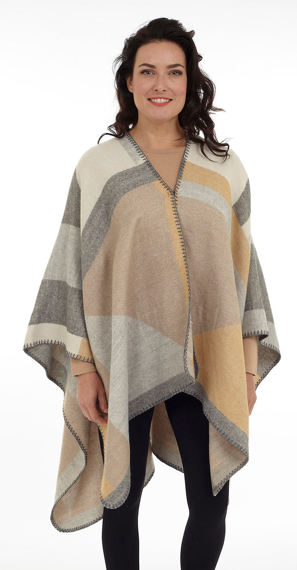 colour block cape in beige neutral shades with hook and eye closure