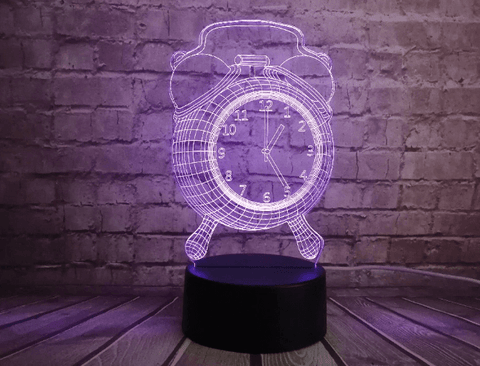 Alarm Clock 3D Lamps 3D Night Lights 3D Optical LED Illusion Hologram Lamps and Lights-Ellsworth Living