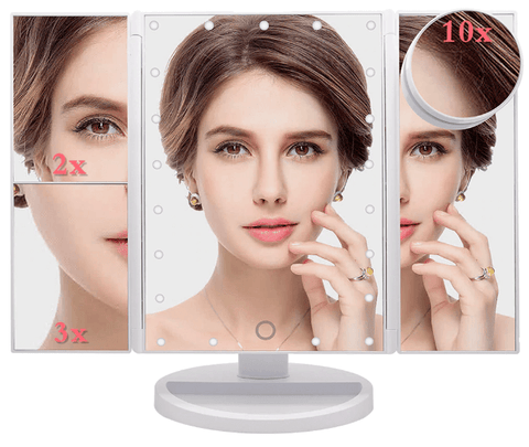 10x Lighted Magnifying Makeup Mirror LED Tabletop Vanity Mirror 1x 2x 3x and 10x Magnification-Ellsworth Living