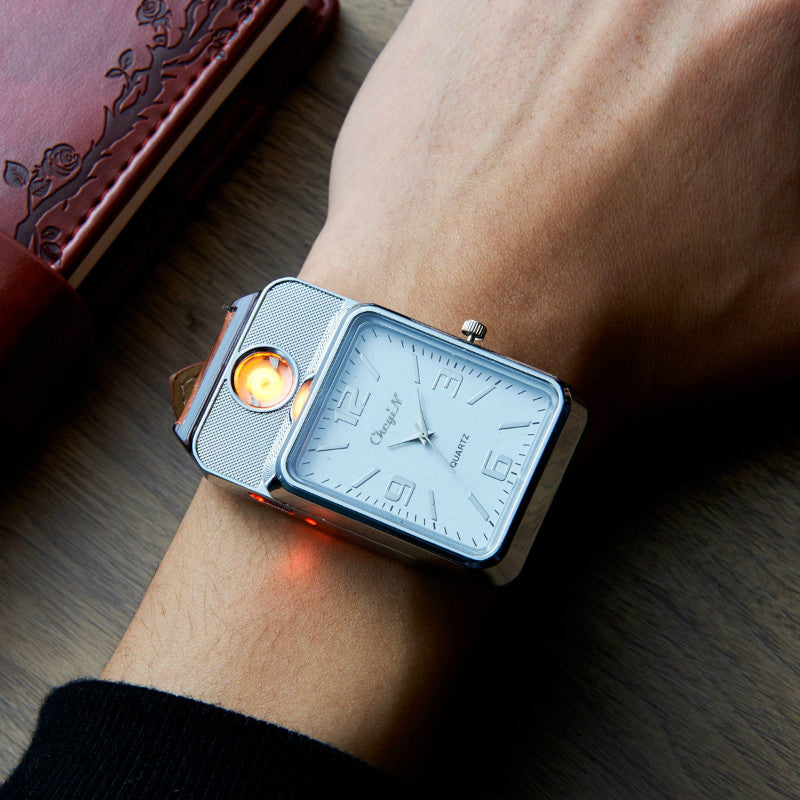 USB Rechargeable Watch With Flameless Lighter