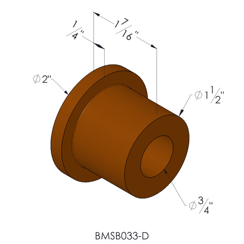 "Delrin Bushing With 3/4"" I.D. and 1/4"" Step For 2"" x .250 Wall Tubing"