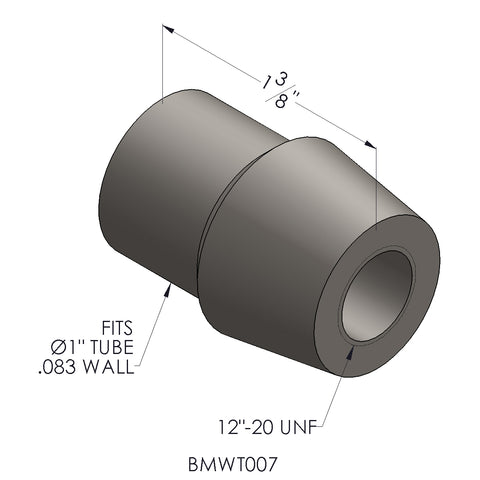 "1/2""-20 Threaded Bung For 1 x 0.083"" Wall Tubing (RH)"