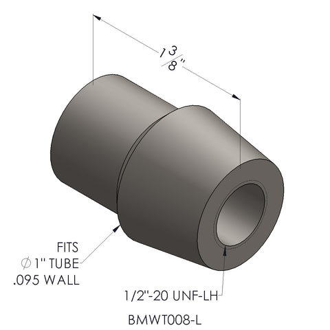Threaded Bung 1/2-20 For 1 x 0.095 Wall Tubing (LH)