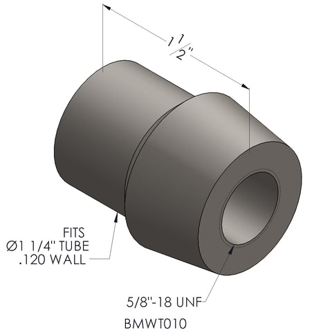 "5/8""-18 Threaded Bung For 1.25 x 0.120 Wall Tubing (RH)"