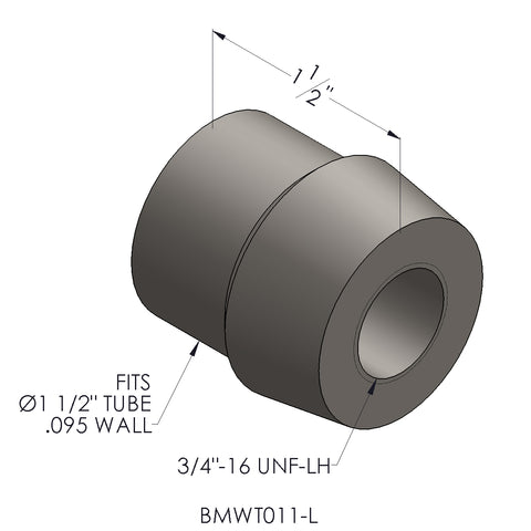 "3/4""-16 Threaded Bung For 1.5 x 0.095 Wall Tubing (LH)"