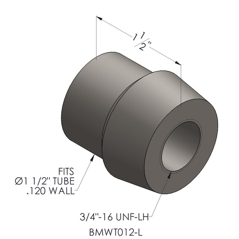 "3/4""-16 Threaded Bung For 1.5 x 0.120 Wall Tubing (LH)"