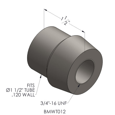 "3/4""-16 Threaded Bung For 1.5"" x 0.120 Wall Tubing (RH)"