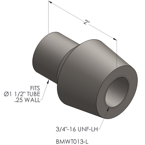 "3/4""-16 Threaded Bung For 1.5"" x 0.250 Wall Tubing (LH)"