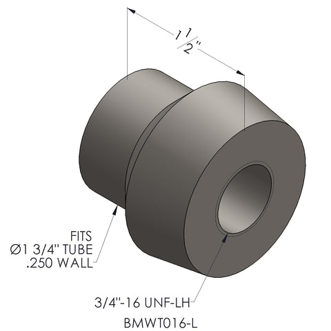 "3/4""-16 Threaded Bung For 1 3/4 x 0.250 Wall Tubing (LH)"