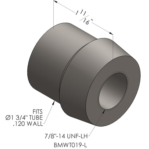 "7/8""-14 Threaded Bung For 1 3/4 x 0.120 Wall Tubing (LH)"