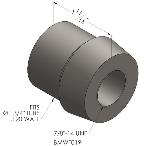 "7/8""-14 Threaded Bung For 1 3/4 x 0.120 Wall Tubing (RH)"