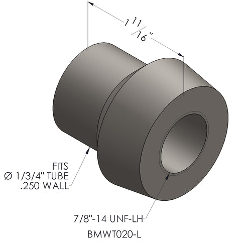 "7/8""-14 Threaded Bung For 1 3/4 x 0.250 Wall Tubing (LH)"